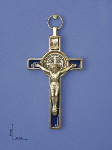 """Copertina di 'Croce in metallo """"San Benedetto"""" su sfondo blu - altezza 8 cm'"""