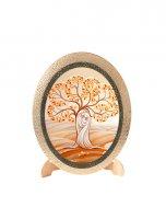 """Icona ovale in polimero con cavalletto """"Sacra Famiglia moderna"""" con albero della vita - 25 x 20 cm"""