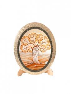 """Copertina di 'Icona ovale in polimero con cavalletto """"Sacra Famiglia moderna"""" con albero della vita - 25 x 20 cm'"""