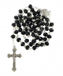 Copertina di 'Rosario cristallo sfaccettato con grani mm 6 colore nero legatura in metallo'