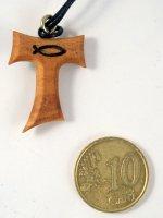 Immagine di 'Tau in ulivo con simbolo Ichthys in blu con laccio - altezza 2,5 cm'