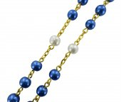 Immagine di 'Rosario imitazione perla legatura dorata mm 6'