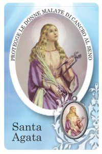 Copertina di 'Card Sant Agata della guarigione in PVC - 5,5 x 8,5 cm - italiano'