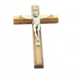Copertina di 'Crocifisso in mogano e legno d'ulivo con Cristo in metallo - altezza 15 cm'