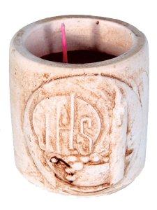 """Copertina di 'Coccetto in resina con candela profumata """"IHS"""" - altezza 5 cm'"""