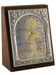 """Copertina di 'Icona in lamina d'argento """"Il Corpo di Cristo"""" - dimensioni 6,5x5,2 cm'"""