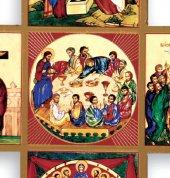 Immagine di 'Croce Salvezza stampa su legno con spiegazione - 9 x 9 cm'
