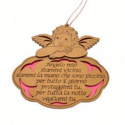"""Copertina di 'Angioletto in legno d'ulivo """"Angelo mio"""" su sfondo rosa - dimensioni 8x8 cm'"""