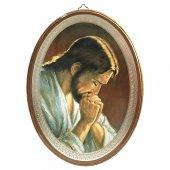 """Icona ovale laccata oro """"Gesù orante"""" - dimensioni 21,5x16 cm"""