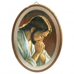 """Copertina di 'Icona ovale laccata oro """"Gesù orante"""" - 21,5 x 16 cm'"""