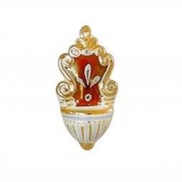 Copertina di 'Acquasantiera in ceramica  cm 12 - Modello Rubino e oro'