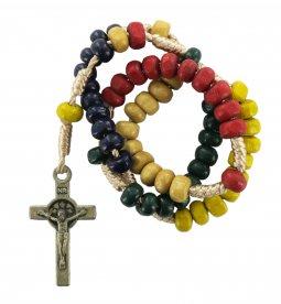 Copertina di 'Rosario missionario con grani in legno mm 4 legatura seta'