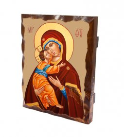 """Copertina di 'Tavoletta in legno massello """"Madonna col Bambino"""" - dimensioni 25x20 cm'"""