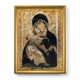 """Copertina di 'Quadro """"Madonna di Vladimir"""" con lamina oro e cornice dorata - dimensioni 44x34 cm'"""