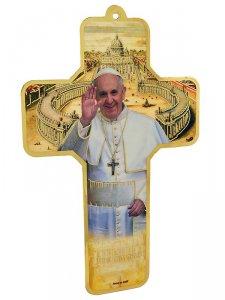 Copertina di 'Croce in pvc da appendere con Papa Francesco e preghiera semplice sul retro - dimensioni 17,5x11,5 cm'