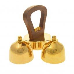 Copertina di 'Gruppo di tre campanelli in ottone dorato con manico in legno - dimensioni 15x17 cm'