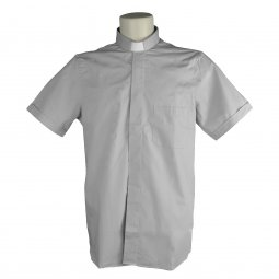 Copertina di 'Camicia clergyman grigio chiaro mezza manica 100% cotone - collo 46'