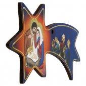 Immagine di 'Cometa blu in legno da appendere con Natività e Re Magi - dimensioni 6x12 cm'