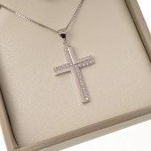Collana con croce a specchio in strass e catenina in argento 925
