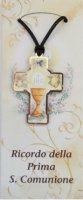 Bomboniera comunione bambino/bambina: croce in legno con scatola - 5 cm
