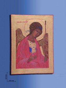 """Copertina di 'Icona in legno """"San Michele"""" - dimensioni 36x26 cm'"""