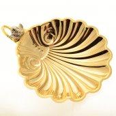 Conchiglia per battesimo in ottone dorato con angioletto nichelato - dimensioni 11x9 cm