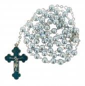 Rosario perlina azzurra mm 5 con croce smaltata