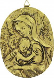 Copertina di 'Quadro Madonna con Bambino ovale in resina dipinta a mano - Bassorilievo - 25,5 x 34 cm'