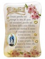 Calamita Figlia con immagine resinata della Madonna Miracolosa - 8 x 5,5 cm
