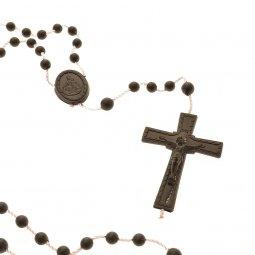 Copertina di 'Rosario economico in plastica nera - grani tondi 3 mm'