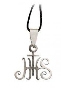 """Copertina di 'Ciondolo in acciaio inox con simbolo """"Cristogramma IHS""""'"""