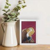 """Immagine di 'Quadretto """"Padre Pio"""" bordeaux con cornice minimal - dimensioni 15x10 cm'"""