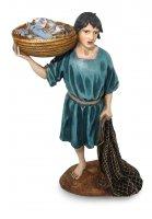 Pescatore con rete e cesta per presepe cm 12