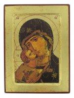 Icona Volto della Tenerezza, Madonna di Vladimir, produzione greca su legno - 25,5 x 19 cm