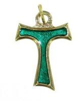 Croce tau in metallo dorato con smalto verde - cm 2