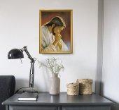 """Immagine di 'Quadro """"Cristo orante"""" di Parisi con lamina oro e cornice dorata'"""