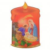 Magnete resinato a forma di candela con Natività - Stile classico