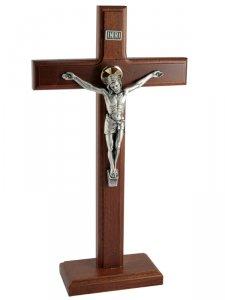 Copertina di 'Croce in legno di faggio con base e corpo in metallo - dimensioni 30x17 cm'