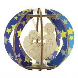 Copertina di 'Natività di legno in sfera con doghe colorate - altezza 10 cm'