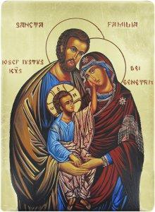 Icona Sacra Famiglia Dipinta A Mano Su Legno Con Fondo Oro Cm 16x19