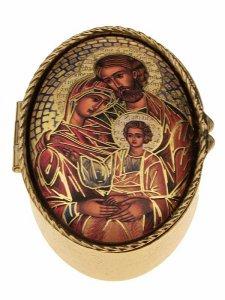 """Copertina di 'Portarosario ovale in metallo """"Sacra Famiglia"""" - dimensioni 6x4 cm'"""