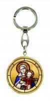 Portachiavi Maria con Gesù bambino in legno ulivo con immagine serigrafata - 4 cm