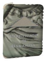 """Immagine di 'Sopraculla geometrico in plexiglass rosa e argento """"Madonnina"""" del Ferruzzi con preghiera Angelo di Dio - altezza 11 cm'"""