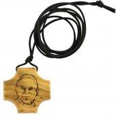 Immagine di 'Croce ulivo con incisione - Giovanni Paolo II'