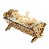 Immagine di 'Gesù Bambino con culla in legno d'ulivo - dimensioni 13x6 cm'
