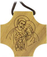 Croce Sacra Famiglia in legno di ulivo con incisione