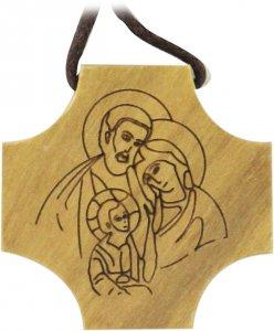 Copertina di 'Croce Sacra Famiglia in legno di ulivo con incisione'
