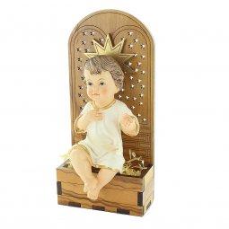 Copertina di 'Gesù Bambino in resina su trono in legno d'ulivo - dimensioni 15x7 cm'