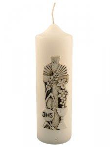 """Copertina di 'Candela con bassorilievo in bianco e nero """"calice, uva e scritta IHS"""" - altezza 18 cm'"""