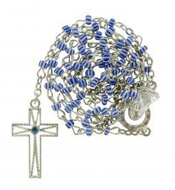 Copertina di 'Rosario vetro rigato mm. 3 blu'